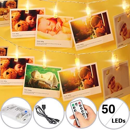 TBoonor Luci per Foto Polaroid 5M 50 LED Foto con Luci Clips Luci Foto Porta Foto Mollette ci sono con Telocomando Luci per Foto Esterni, Casa, Feste, Matrimonio, DIY, Natale