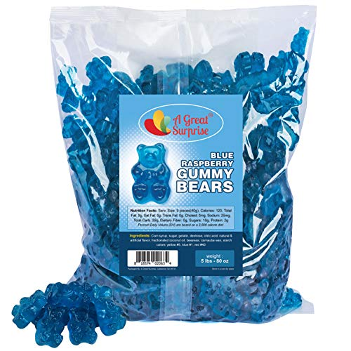 Gummy Bears - Blue Candy - Bulk Candy – Gummy Bears Blue Raspberry – Blue Gummi Bears – Bulk Candy Gummies 5 LB