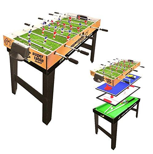 Tavolo Multigioco Sport One Maxi Supertable - 4 Giochi in 1 - Calciobalilla 4 Vs 4 Aste Rientranti / Ping Pong / Tavolo da Biliardo & Speed Hockey - Cm. 121,9 X 60 X 81,5 - NOVITA