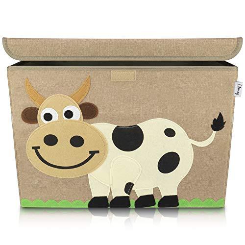 Lifeney Aufbewahrungsbox Kinder 51 x 36 x 36 cm I Kiste mit Deckel für Kinderzimmer I Aufbewahrungsbox mit Deckel für Kindersachen I Boxen Aufbewahrung mit Tiermuster I Spielzeug Aufbewahrung (Kuh)