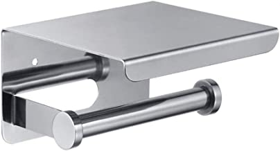 Decopatent Toiletrolhouder Rvs - Toiletrolhouder met telefoonhouder/plankje - Toilet/WC papier rolhouder - Wandmodel - Zilver
