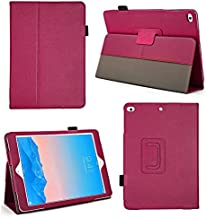 Bear Motion for New iPad 2018, 2017 and iPad Air 1 - Genuine Cowhide Leather Case with Hand Strap, Built-in Stand and Auto Wake/Sleep Function for Apple iPad Air 1 and New iPad 2017 - Hot Pink