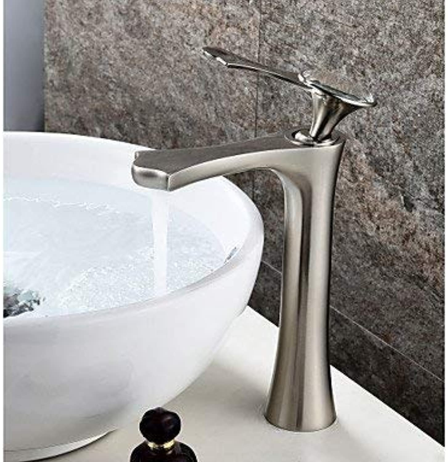 BESTHOO Central position Ceramic valve One hole for brushed nickel, sink faucet (color   -, Size   -)