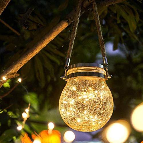 Osaloe Solar Laterne, Glas Solarlampen IP65 Wasserdichte Solar Gartenleuchte Hängende Solarlicht für Außen, Schlafzimmer, Party, Hochzeit (Warmweiß)