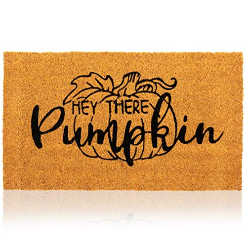 Natural Coir Welcome Door Mat, Hey There Pumpkin (30 x 17 Inches)