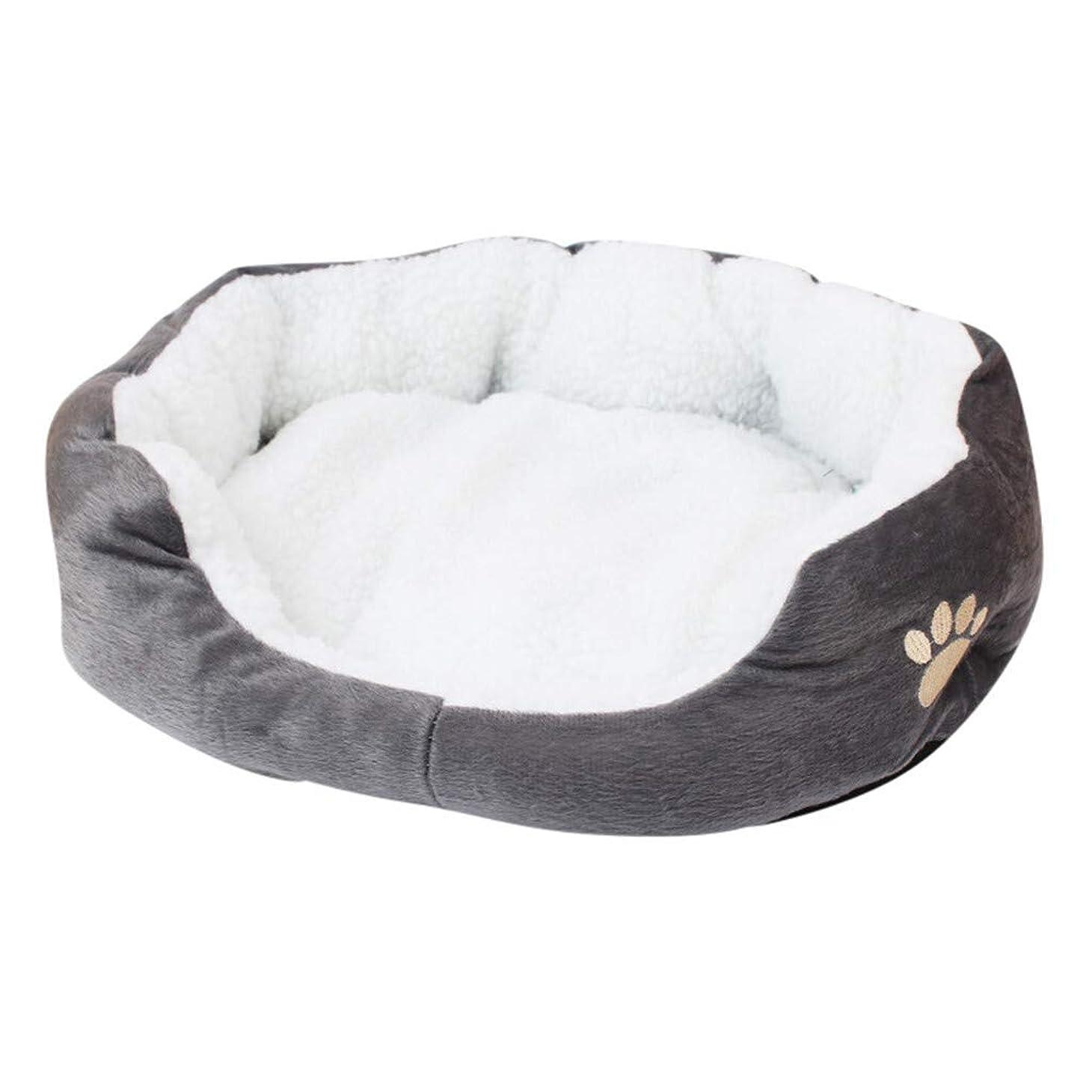 クライストチャーチのため君主TCSPD ペット犬子犬猫フリース暖かいベッドハウスぬいぐるみコージー巣マットパッドペットハウスベッドソファバッグ冬の巣の犬小屋犬パッドスリーピング (色 : グレー)