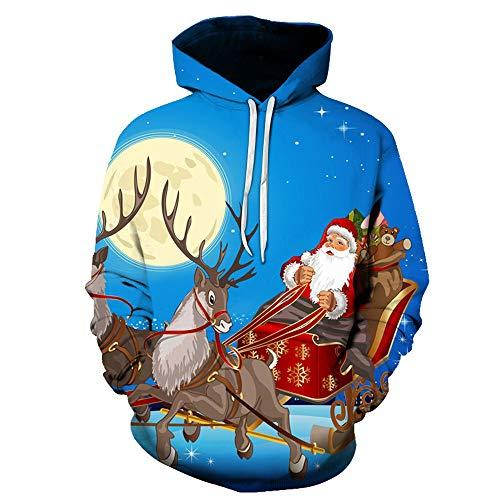 SHUAIFA Mens Womens 3D Christmas Reindeer Santa Claus Hoodie Print Sweatshirt Pullover Pocket Tops S