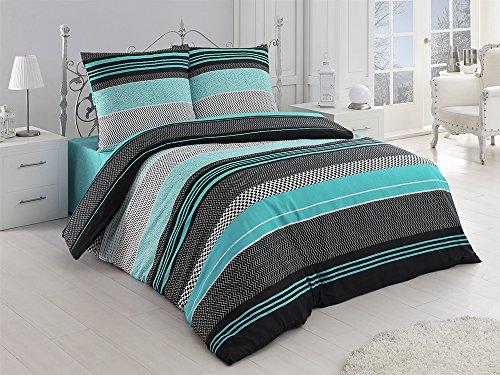 Fein-Biber Bettwäsche mit Kissenbezug 2 Teilig 100% Baumwolle Edel-Flanell Reißverschluss 135x200 cm + 80x80 cm, Streifen Mint Grün Zick Zack Muster