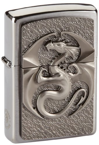 Zippo 2002545 Dragon 3D Emblem Feuerzeug, Messing, Silber, one Size