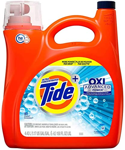 Tide Ultra Concentrate, OXI Advanced Power,Extra Stain Removel for Whites & Color Liquid Laundry Detergent - 150 oz, 81 Loads