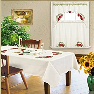 Kitchen Dining Table Cloth Rectangle 60x84 6 Chairs Tablecloth/cover Beige Red Strawberry