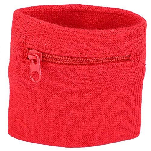RiToEasysports Cartera de Pulsera Unisex - Bolsa de Almacenamiento de Llaves de Pulsera Deportiva con Cremallera para Correr, Deportes, Caminar, Gimnasio(Rojo)