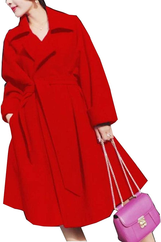 LEISHOP Women Wool Trench Pea Coat Lapel Swing Winter Long Overcoat Belt