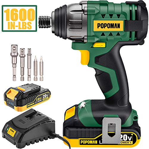 Impact Driver, 1600In-lbs 20V MAX Impact Drill, 2000mAh Battery, 60-Min Fast Charger 2A, 1/4' All-metal Hex Chuck, 0-2900RPM Variable Speed, 6 Pcs Accessories