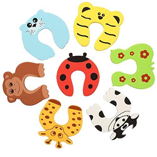 Türstopper Schaumstoff 7er Set Kindersicherung - Finger Klemmschutz für Tür und Schubladen in 5 bunten Farben
