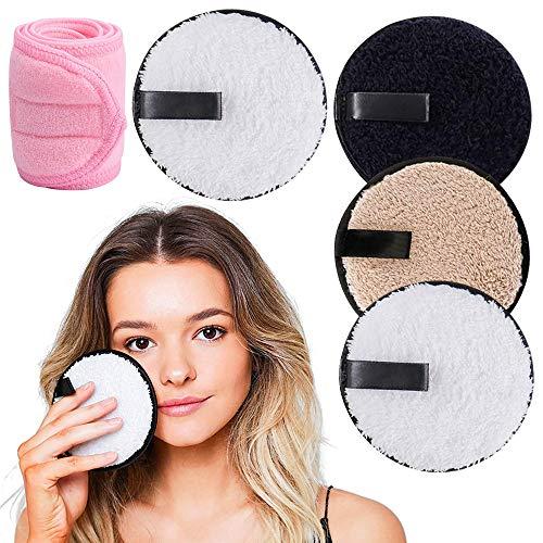 4 Stück Waschbare Abschminkpads mit Rosa Kosmetik Haarband, XCOZU Abschminkpads Waschbar Abschminktücher Mikrofaser Abschminkpads Wiederverwendbar, Make up Entferner Pads(Schwarz Weiß Braun)