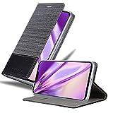 Cadorabo Hülle für LG G8 ThinQ in GRAU SCHWARZ - Handyhülle mit Magnetverschluss, Standfunktion & Kartenfach - Hülle Cover Schutzhülle Etui Tasche Book Klapp Style