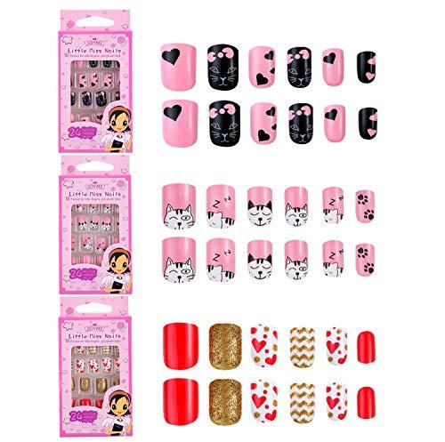 72 Stück Fingernägel Zum Aufkleben Set für Kinder Mädchen,Rosa Lackiert Selbstklebende Künstliche Nägel Sticker Deko mit Muster Pink Aufkleber Falsche Kunstnägel für Kleinen Händen Hand Finger Damen