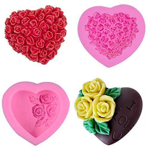SIMUER Herz Rose Blumen Silikon Form zum Backen Basteln für Kuchen Muffins Handgefertigte Seife Kekse Schokolade Eiswürfel 3D DIY Mould Fondant Tortendeko Seife Form 2 Pack