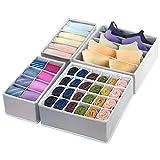 4 Pcs Foldable Drawer Organizers, GOGOODA Desk Closet Organizer and Storage Drawer Organizer for Underwear Bra Socks(Grey)