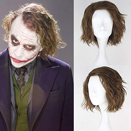 JOMICO Peluca de cosplay de Joker sintética corta y esponjosa para hombre, de lino, color verde, para fiestas de disfraces de Halloween, carnaval, peluca de mascarada