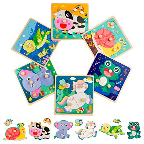 Toddler Puzzles Wooden Puzzles for Kids Baby Brain Development Jigsaw Puzzles for 1 2 3 4 Year Old Boys Girls Preschool Toy
