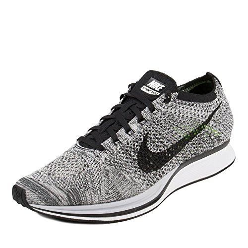 Nike Mens Flyknit Racer White/Black-Volt Fabric...