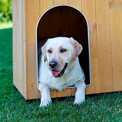 Ferplast Caseta de exterior para perros BAITA 120, Madera ecosostenible, Pies aislantes, Puerta con perfil de aluminio resistente a las mordeduras, Techo abrible, 141 x 86,5 x h 87 cm