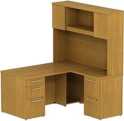 """BBF 300 Series 60"""" Single Ped Desk L-Station with 2Dwr Ped and Hutch"""