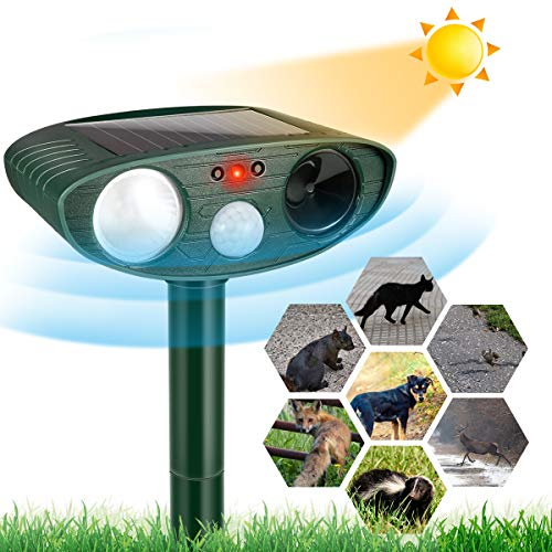 Dog Cat Repellent, Ultrasonic Animal Repellent with Motion Sensor and Flashing Lights Outdoor Solar Powered Waterproof Farm Garden Yard Repellent, Cats, Dogs, Foxes, Birds, Skunks, Rod