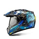 Mdsfe Casco de Moto Negro Casco Completo de Moto Motocicleta Todoterreno Aventura para Hombres Descenso Casco de Moto DH Racing - Calavera Azul X XL X España
