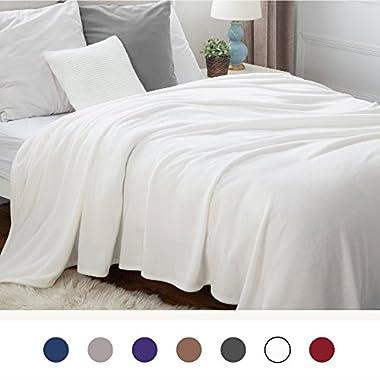 Bedsure Flannel Fleece Luxury Blanket Ivory Queen Size Lightweight Cozy Plush Microfiber Solid Blanket by