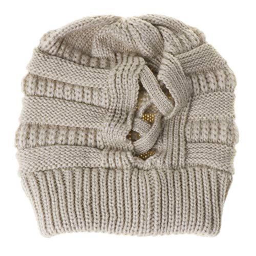 Winter Beanie voor Vrouwen Warm Gebreide Hoed Chunky Criss Cross Cap Paardenstaart Stretch Skull Cap, BG, Eén maat