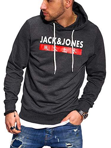 JACK & JONES Herren Hoodie Kapuzenpullover Sweatshirt Pullover Streetwear 4 Elements (Medium, Dark Grey Melange)