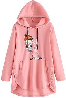Bsjmlxg Women Hoodies Asymmetrical Button Hem Plus Size Cartoon Butterfly Print Top Sweater Pullover with Pocket