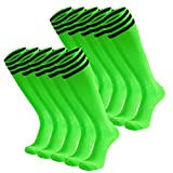 Dsource Unisex Soccer Socks Knee High Stripe Football Tube Socks 10 Pack Fluorescent Green