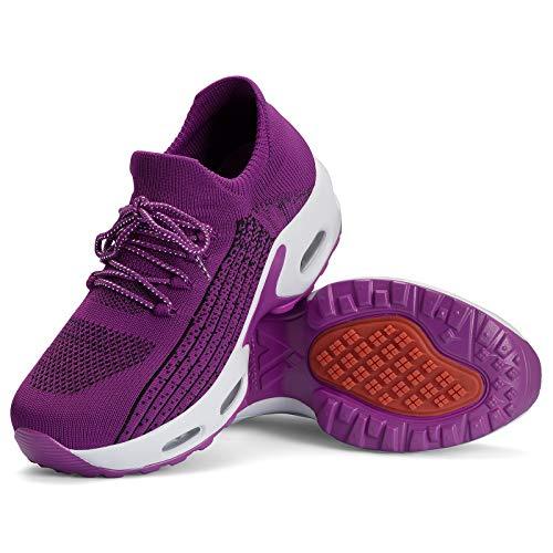 Mishansha Zapatillas Mujer Deporte Gimnasio Zapatos Mesh Ligero Bambas para Andar Correr Casual Sneakers Morado B N, Gr.39 EU