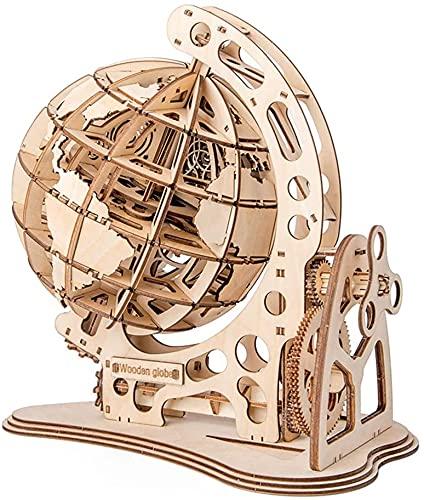 NA ZT Modelo de Globo de Madera 3D, Bricolaje Puzzles de Madera Kit de construcción de Madera de construcción Mecánico Corte láser globales for niños Adolescentes Adolescentes