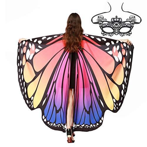 Yanhoo Frauen Weiche Gewebe Schmetterlings Flügel Schal feenhafte Damen Nymphe Pixie Weihnachten Karneval Halloween Cosplay Weihnachten Cosplay Faschings Kostüm Zusatz Umschlagtücher