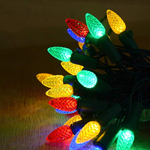 Abkshine 17.5Ft 50 Counts C3 LED Christmas Lights Multicolor, Battery Operated Christmas Tree Lights with Green Wire Strawberry Fairy Lights for Christmas Tree, Party, Bedroom, Wedding, Multicolored