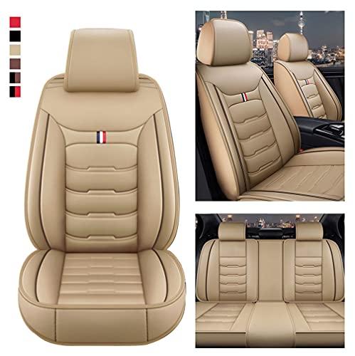 Muchkey Coprisedili Auto 5 posti per Audi A1 A3 A4 A4L A5 A6 A6L A7 A8 Coprisedile Impermeabile in Pelle Con Cuscino Cervicale e Lombare Posteriore Protezioni per Sedili Copri Beige