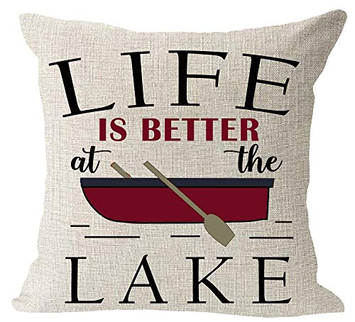 Life is Better at The Lake Paddle Boat Cotton Linen Square Throw Waist Pillow Case Decorative Cushion Cover Pillowcase Sofa 18'x 18'