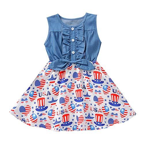 Julhold Prinzessin Kleid Lässige Kinderkleidung Mädchen Independence Day A-Linie Kleid Denim Tops Ärmelloses Sommerkleid Mit Blumendruck Strandkleid(Blau,XL)