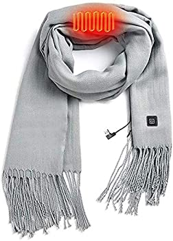 Heated Scarf Men Women USB Port Connecting to Power Bank Heating Scarf Neck Wrap Not Including Power Bank  Grey