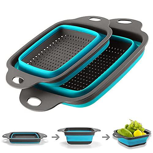 Coladores Cocina, Cocina Plegable Colador de Silicona, Respetuosos del Medio Ambiente no Tóxico Fácil de Limpiar, 2 Tamaños Accesorios...