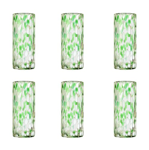 Amici Home, , Confetti Collection Tom Collins Drinking Glass, Handmade Artisanal Mexican Drinkware, Recycled Glass, Dishwasher Safe, Set of 6, 12 Ounces