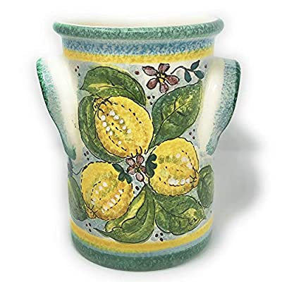 CERAMICHE D'ARTE PARRINI- Italian Ceramic Utensil Holder Wine Bottle Hand Painted Made in ITALY Decorated Lemons Tuscan Art Pottery from