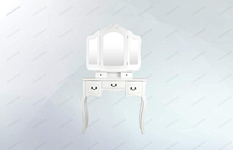 COLIBROX Tri Folding Vintage White Vanity Makeup Dressing Table Still Worry About Your Messy Vanity Table This Vanity Beauty Station Is Definitely Your Ideal Option Mesmerizing Beauty And Stylish
