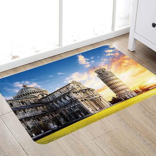 Alfombra de baño súper Suave de 50 x 80 cm,Italia, Lugar del Complejo Miracoli con la Torre Inclinada de Pisa en Frente de atracción turísti Alfombra de baño Absorbente Antideslizante
