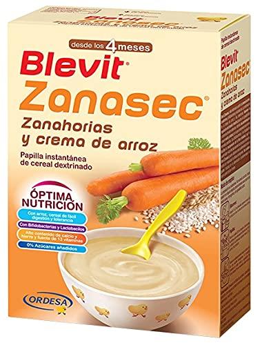 Blevit Zanasec - Papilla de Cereales para bebé con Crema de Arroz y Zanahorias - Sin Gluten y Sin Azúcares Añadidos - Facilita la digestión - Desde los 4 meses - 300g